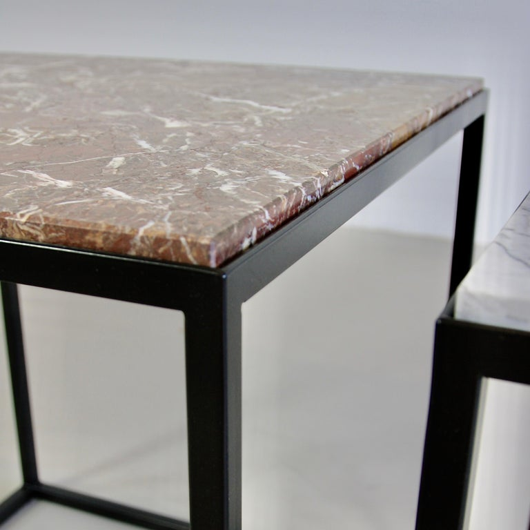 Modern Pair of Side Tables with Marble Tops For Sale