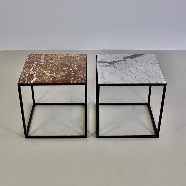 German Pair of Side Tables with Marble Tops For Sale