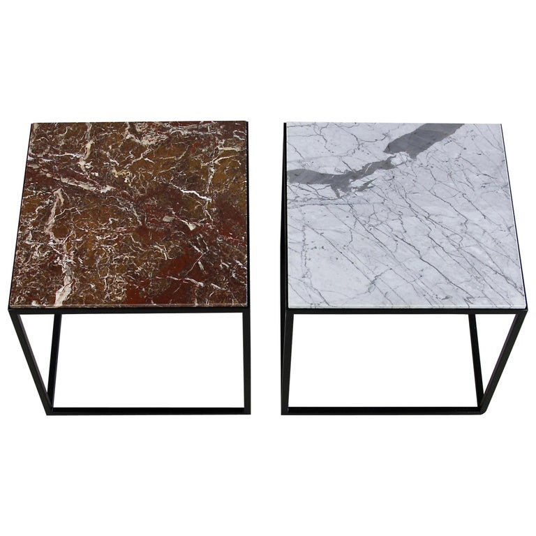 Pair of Side Tables with Marble Tops For Sale