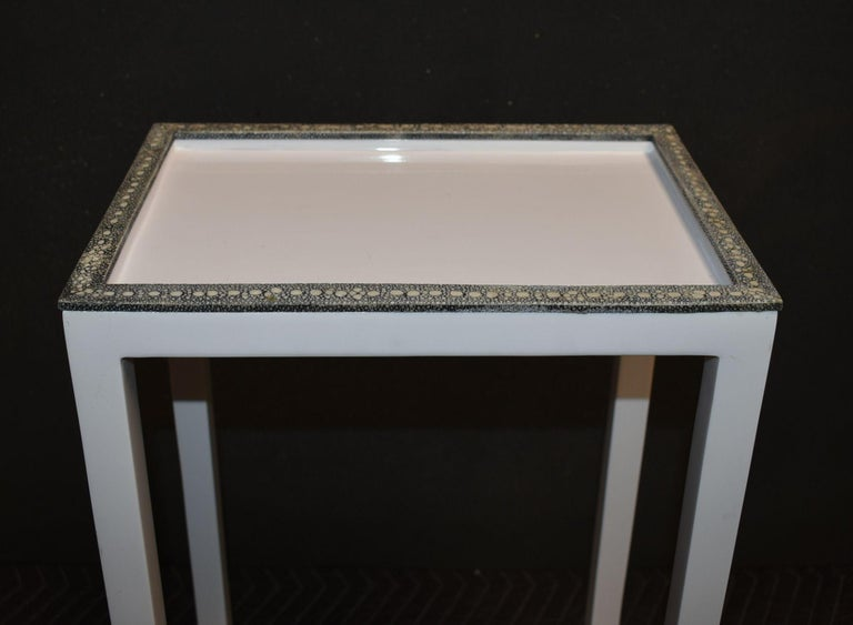 Pair of Side Tables with Shagreen Trim For Sale 4