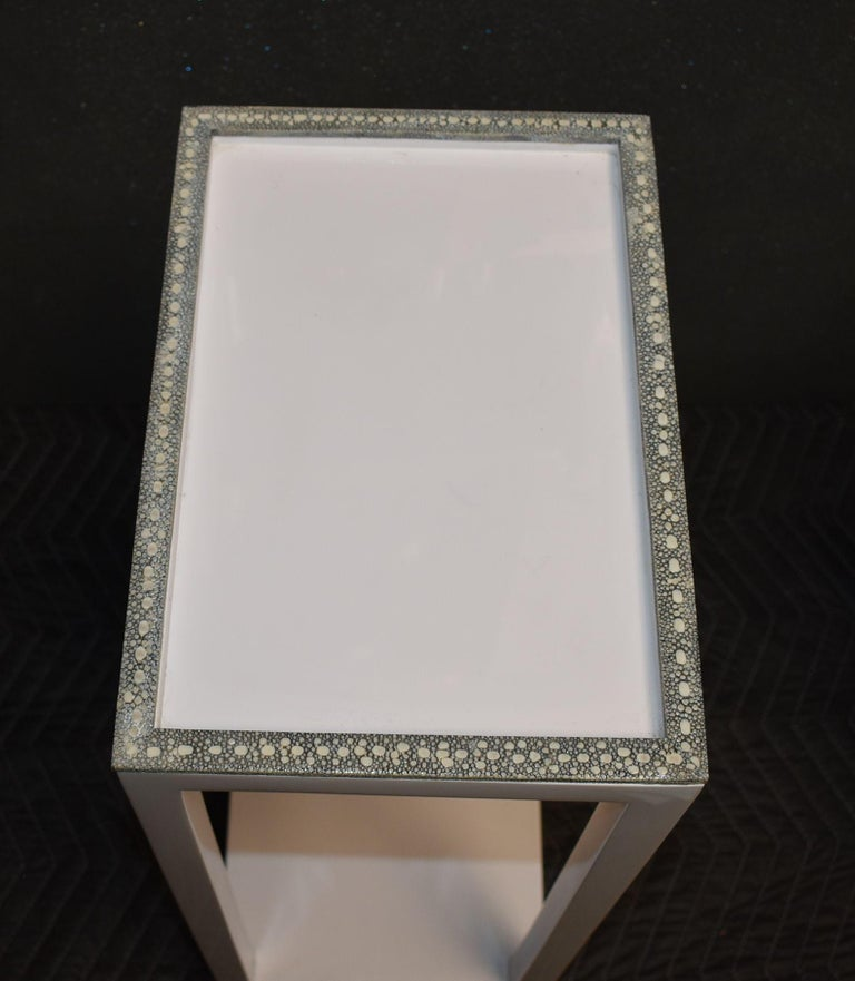 Pair of Side Tables with Shagreen Trim For Sale 5