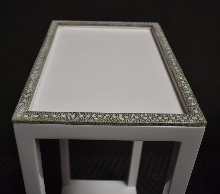 Pair of Side Tables with Shagreen Trim For Sale 6