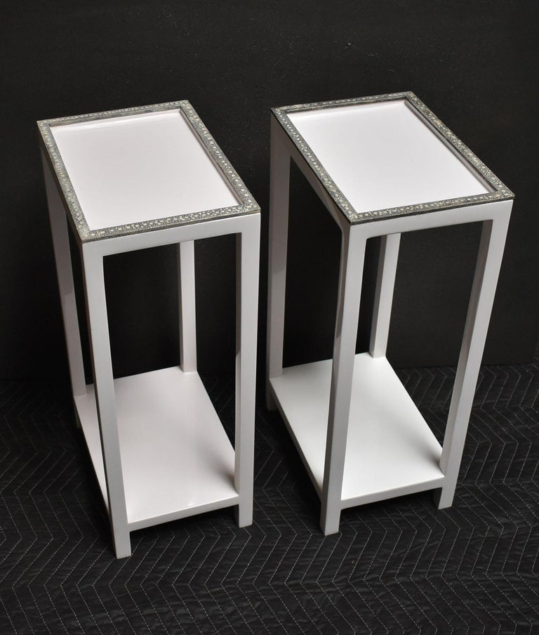 Mid-Century Modern Pair of Side Tables with Shagreen Trim For Sale