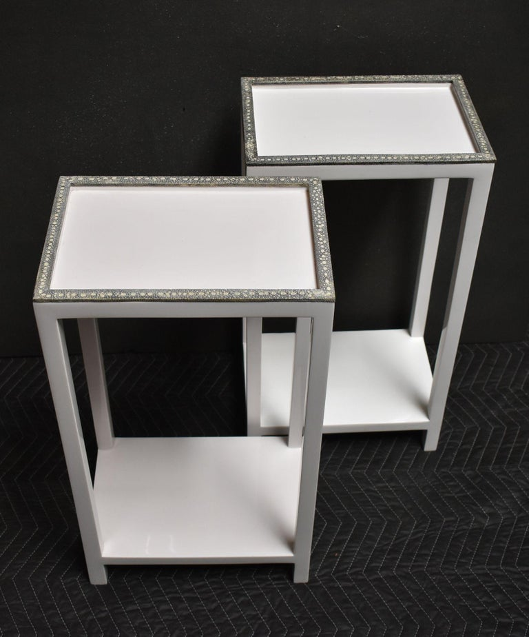 American Pair of Side Tables with Shagreen Trim For Sale
