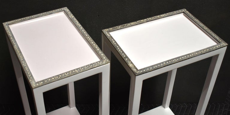 Contemporary Pair of Side Tables with Shagreen Trim For Sale