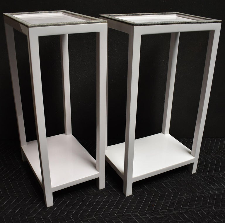Pair of Side Tables with Shagreen Trim For Sale 2