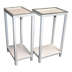 Pair of Side Tables with Shagreen Trim