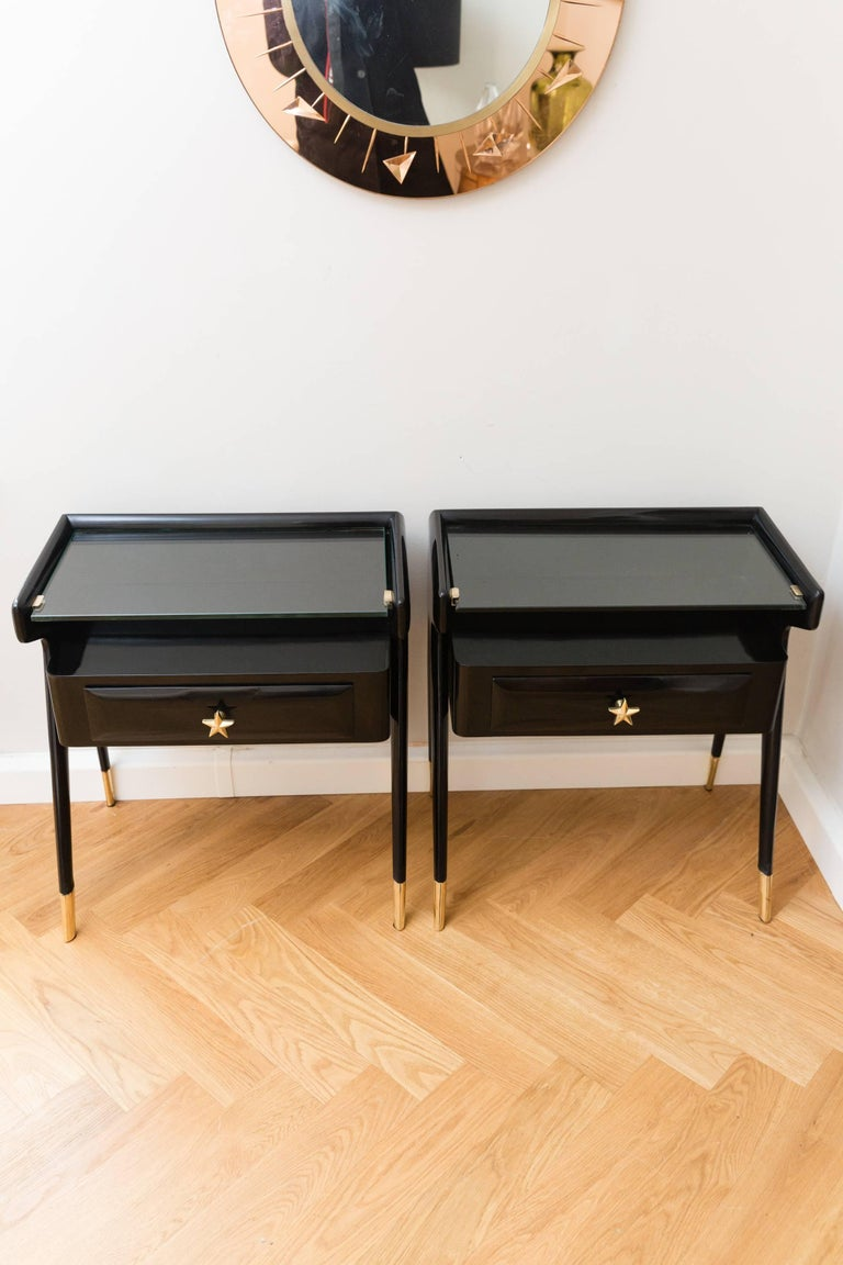 Brass Pair of Side Tables, Italy, circa 1950 For Sale