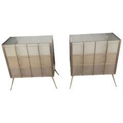 Pair of Sideboards in Tinted Glass and Brass with Three Drawers
