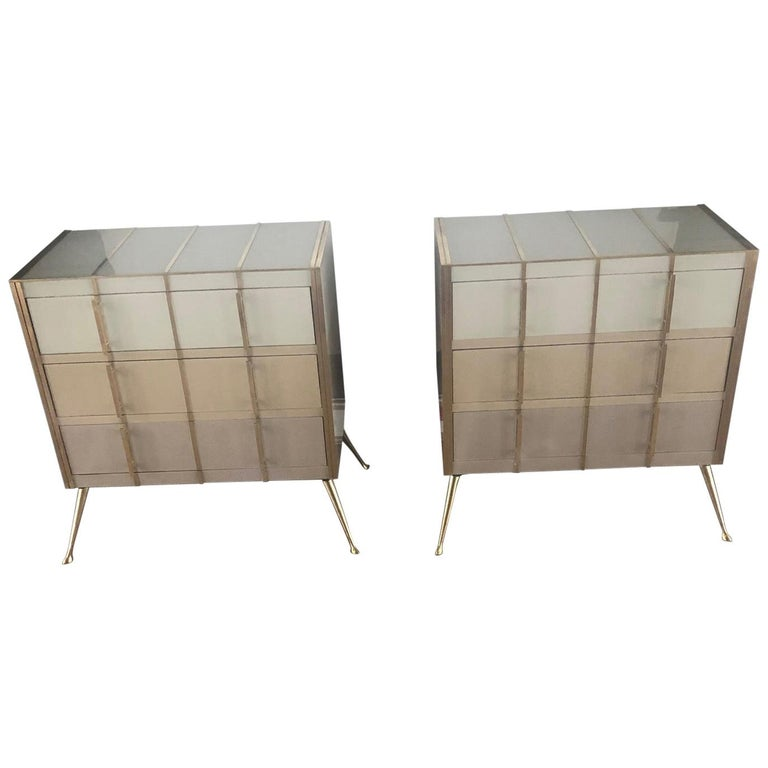 Pair Of Sideboards In Tinted Glass And Brass With Three Drawers For