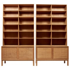 Pair of Sideboards with Bookcases in Oak and Cane by Alf Svensson, 1950s