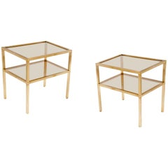 Pair of Sides Table or Nightstands in Brass and Metal, France 1970, Gold Color