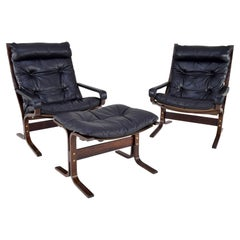 Pair of Siesta Leather Chairs and one Ottoman by Ingmar Relling for Westnofa
