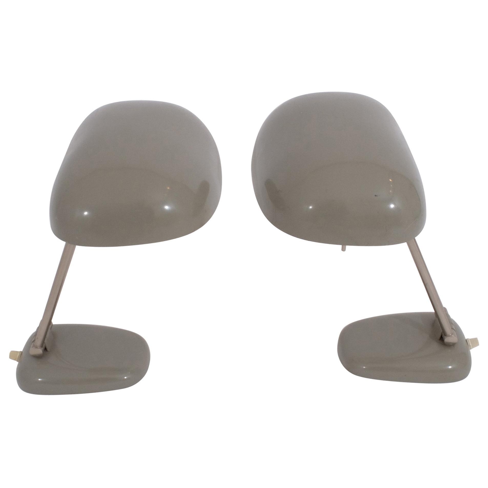 Pair of Sigfried Giedion Desk Lamp Model BT1 for BAG Turgi Swiss Made, 1940s