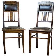 Pair of Signed 20th Century Art Nouveau Oak Chairs