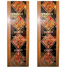 Pair of Signed and Dated Eglomise Panels from France