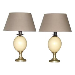 Pair of Signed Anthony Redmile Table Lamps Metal Ostrich Egg Silvered, 1970s