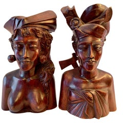 Pair of Signed Balinese Figure Bookends