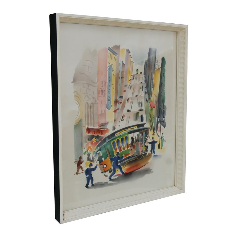 Artist Benjamin Jorj Harris Birth: 1904  Death: 1957 Lived/Active New York  Often known for Illustration-watercolor    Features: 1940s day masonry frame Airbrush watercolor Scene from San Francisco's Chinatown with a cable car.