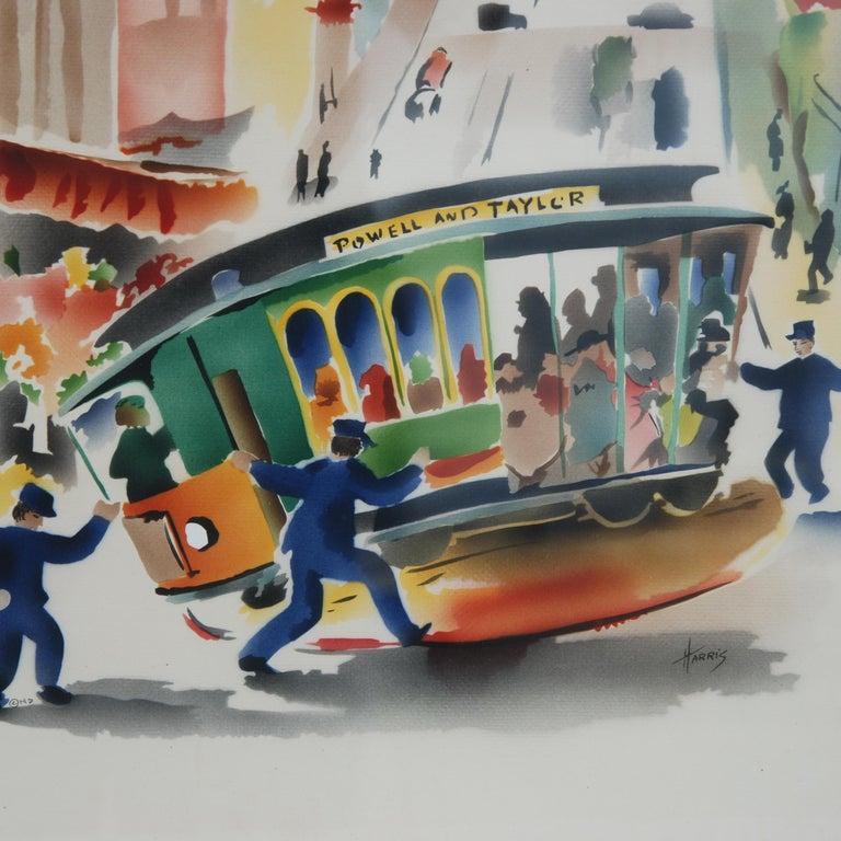 Mid-Century Modern Pair of Signed Benjamin Jorj Harris Airbrush San Francisco Cable Car Artworks For Sale