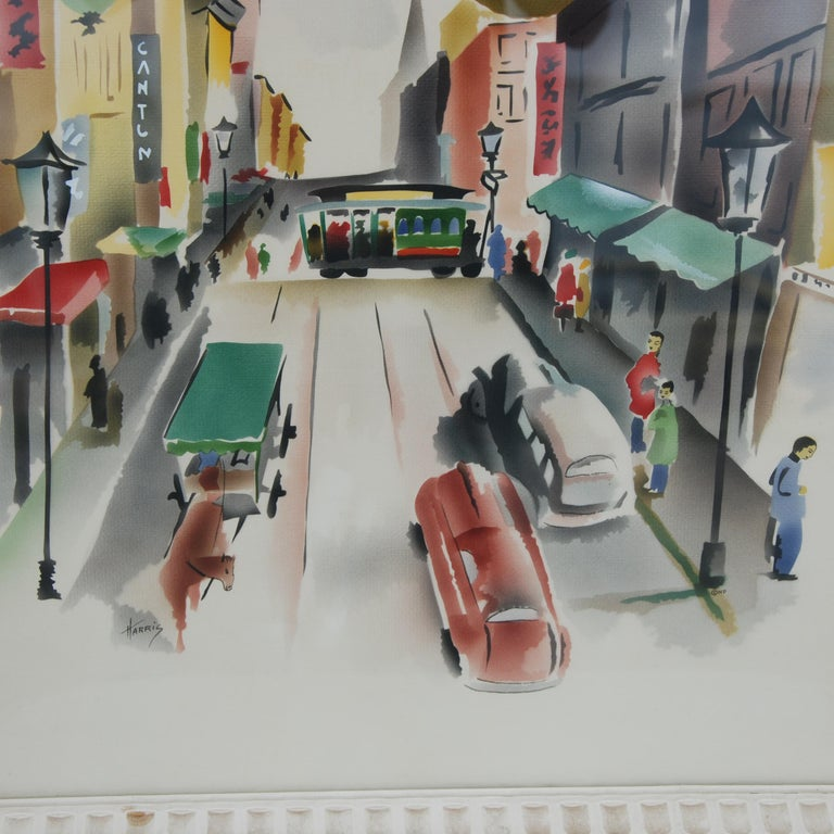 Paper Pair of Signed Benjamin Jorj Harris Airbrush San Francisco Cable Car Artworks For Sale