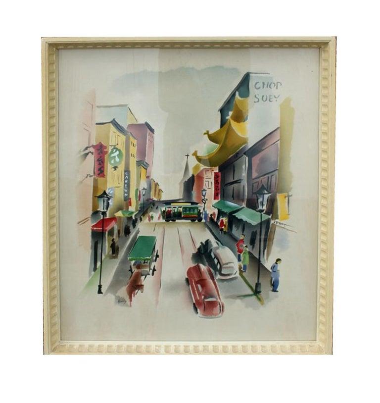 Pair of Signed Benjamin Jorj Harris Airbrush San Francisco Cable Car Artworks For Sale 1