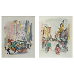 Pair of Signed Benjamin Jorj Harris Airbrush San Francisco Cable Car Artworks