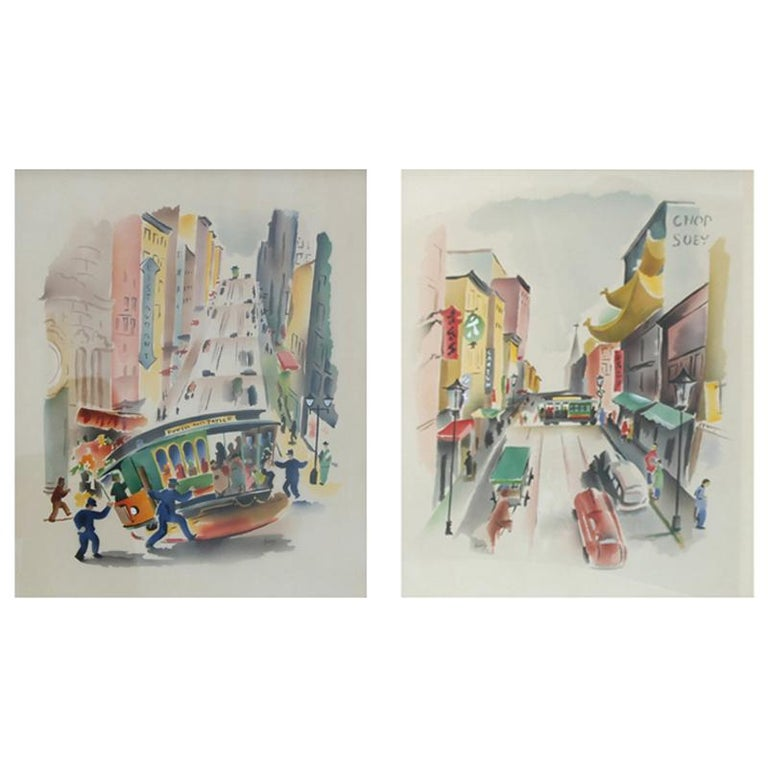 Pair of Signed Benjamin Jorj Harris Airbrush San Francisco Cable Car Artworks For Sale