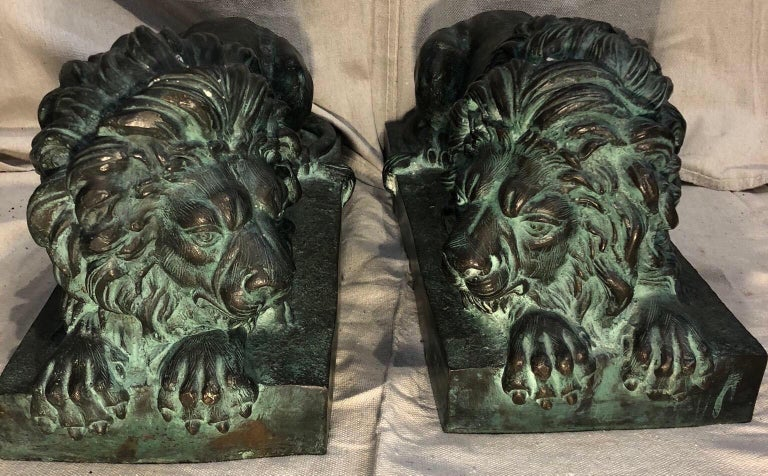 Grand Tour Pair of Bronze Lions  For Sale
