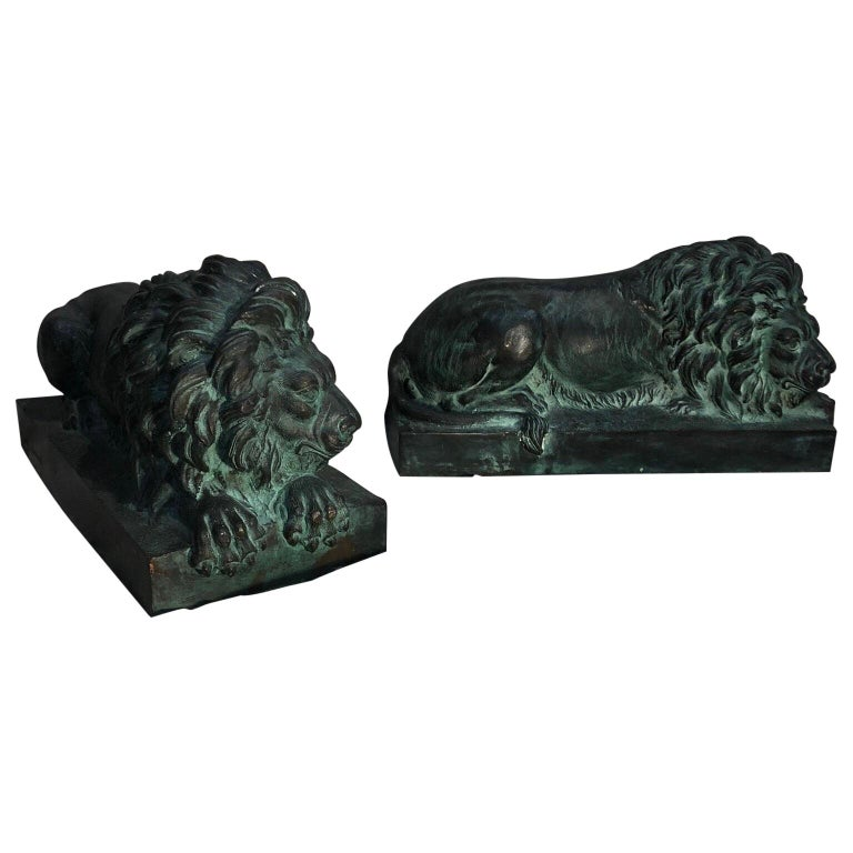 Pair of Bronze Lions  For Sale