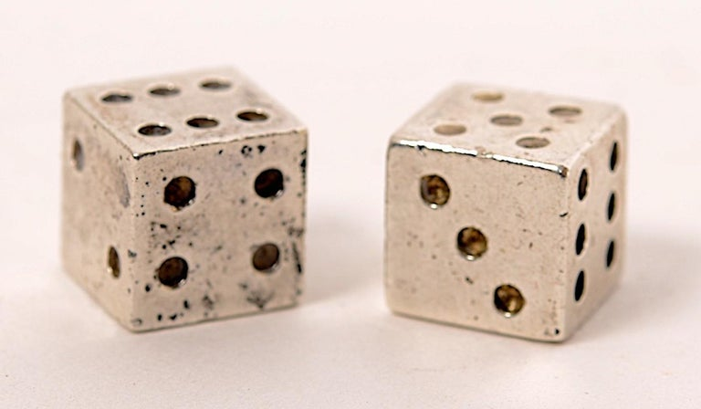 Pair of Signed Cartier Solid Sterling Silver Dice In Good Condition For Sale In valatie, NY