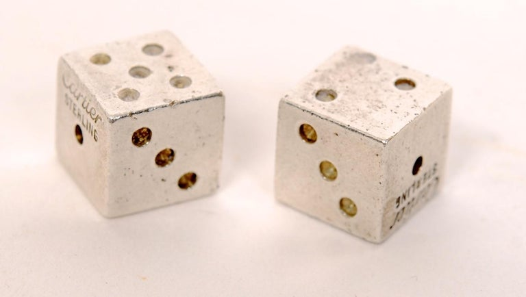 Women's or Men's Pair of Signed Cartier Solid Sterling Silver Dice For Sale