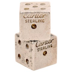 Pair of Signed Cartier Solid Sterling Silver Dice