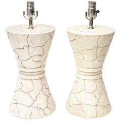 Signed Ceramic Lamps Organic Modern Pair Of