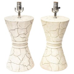 Pair of Signed Ceramic Lamps Organic Modern