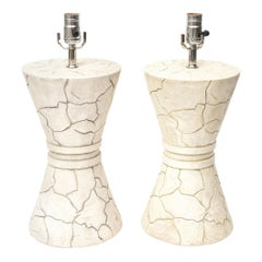 Pair of Signed Ceramic Lamps Organic Modern