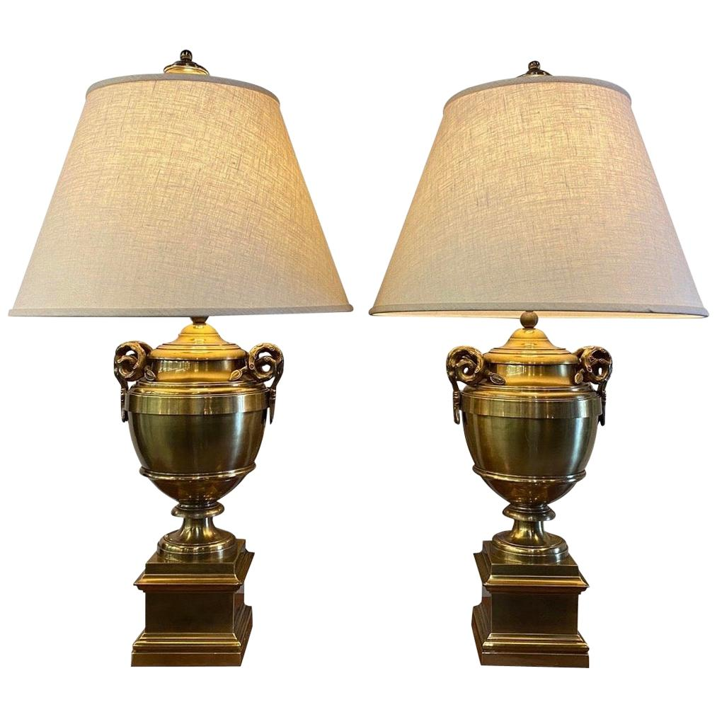 Pair of Signed Chapman Lighting Large Brass Mid-Century Modern Table Lamps