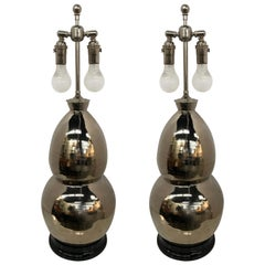 Pair of Signed Christopher Spitzmiller Coveted Table Lamps Modern Double Gourd