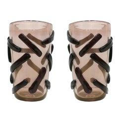 Paar Signierte Costantini Konische Bunte Muranoglas Vasen, Italien