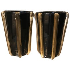 Pair of Signed Costantini Murano Glass Gold and Black Vases