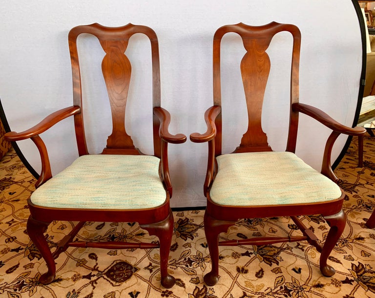 Pair of Eldred Wheeler Queen Anne style armchairs are individually handcrafted and 100% American made in New England using true period 18th century designs and the finest premium woods. We have two pairs available.
