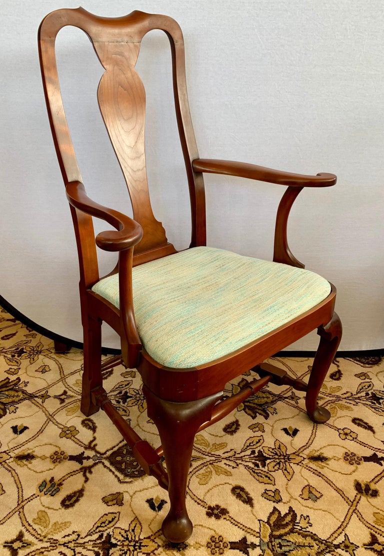 American Pair of Signed Eldred Cherry Wood Armchairs For Sale