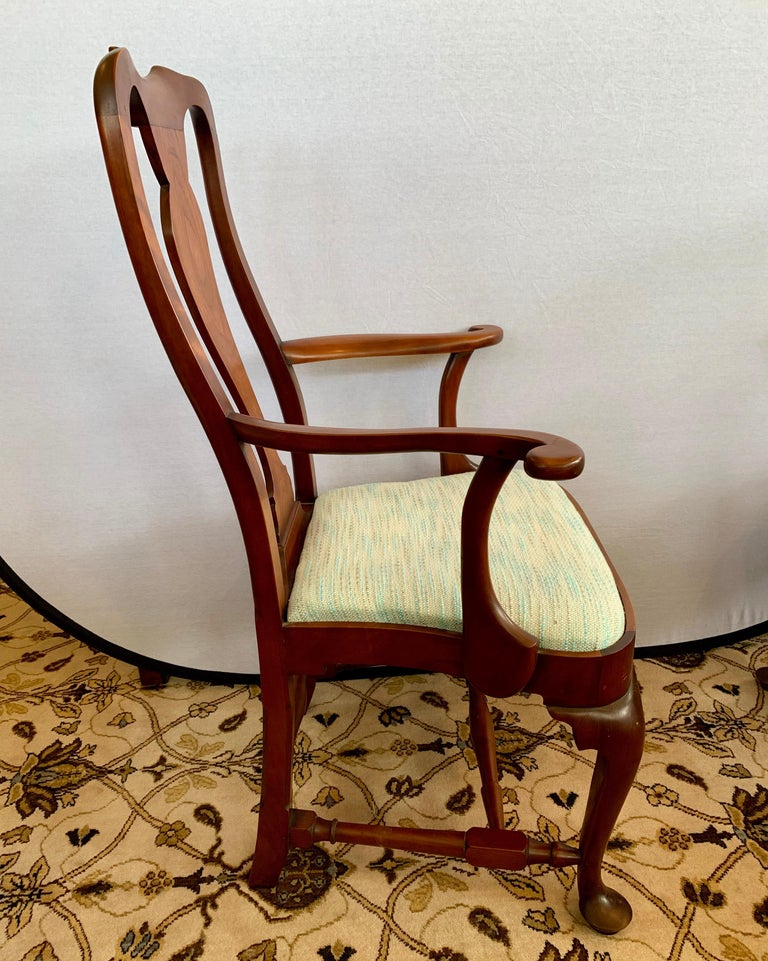Pair of Signed Eldred Cherry Wood Armchairs In Good Condition For Sale In West Hartford, CT