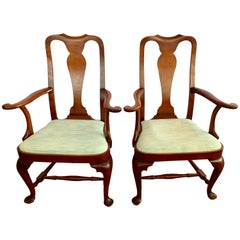 Pair of Signed Eldred Cherry Wood Armchairs