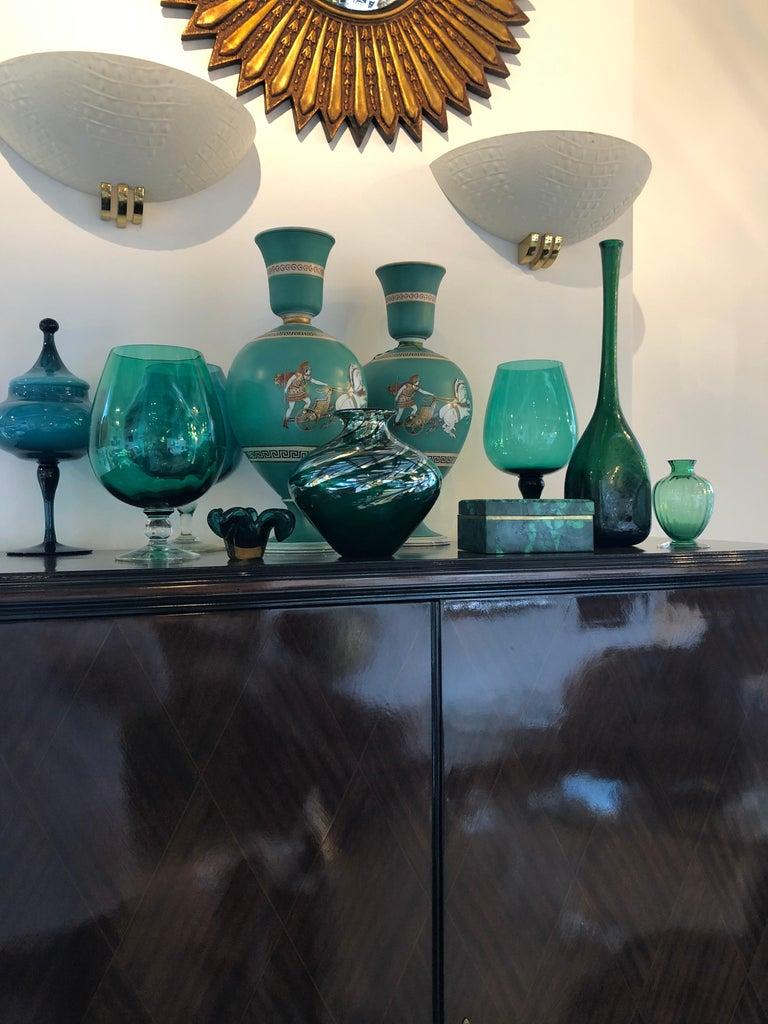 Pair of Signed F & R Pratt Earthenware Grecian/Roman Themed Greek Key Vases For Sale 2