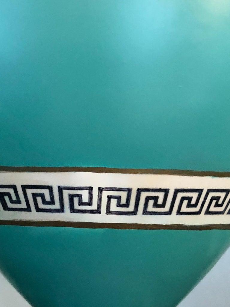 Pair of Signed F & R Pratt Earthenware Grecian/Roman Themed Greek Key Vases For Sale 3