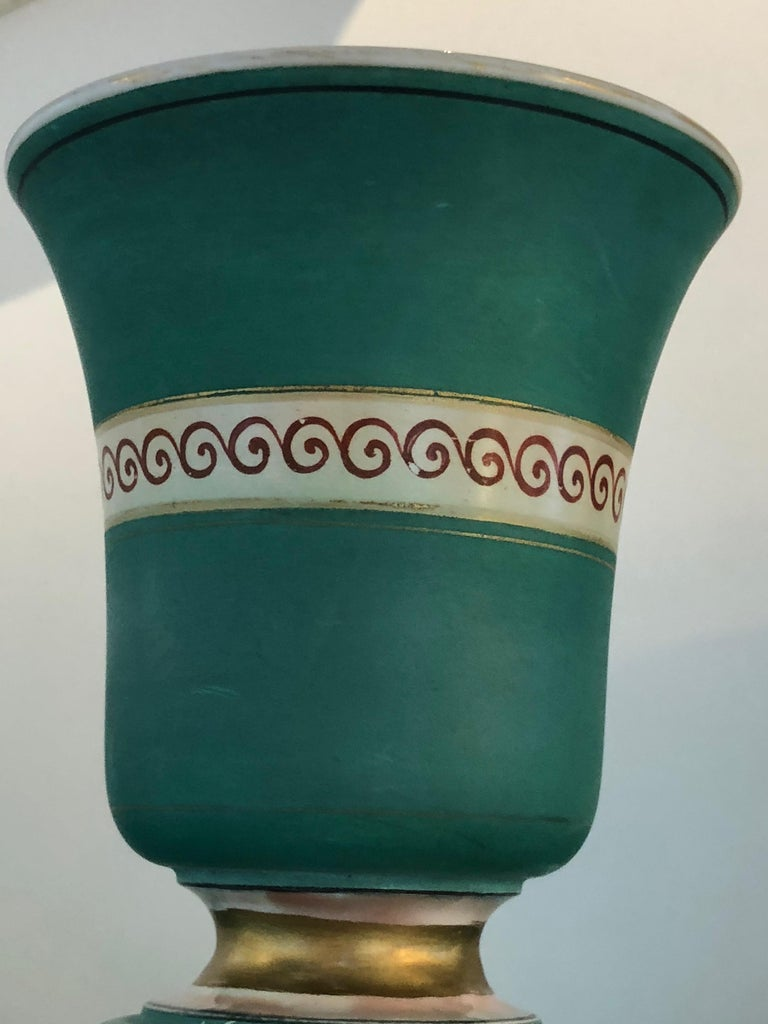 Pair of Signed F & R Pratt Earthenware Grecian/Roman Themed Greek Key Vases For Sale 5