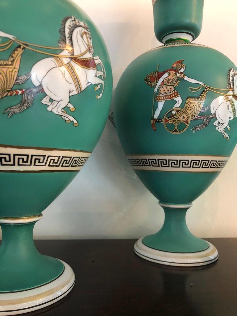 Pair of Signed F & R Pratt Earthenware Grecian/Roman Themed Greek Key Vases For Sale 6