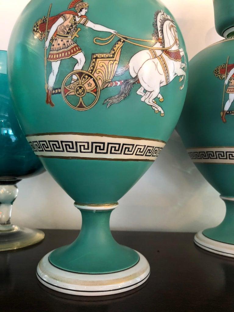 Pair of Signed F & R Pratt Earthenware Grecian/Roman Themed Greek Key Vases For Sale 7