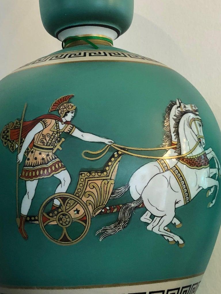 Pair of Signed F & R Pratt Earthenware Grecian/Roman Themed Greek Key Vases For Sale 8
